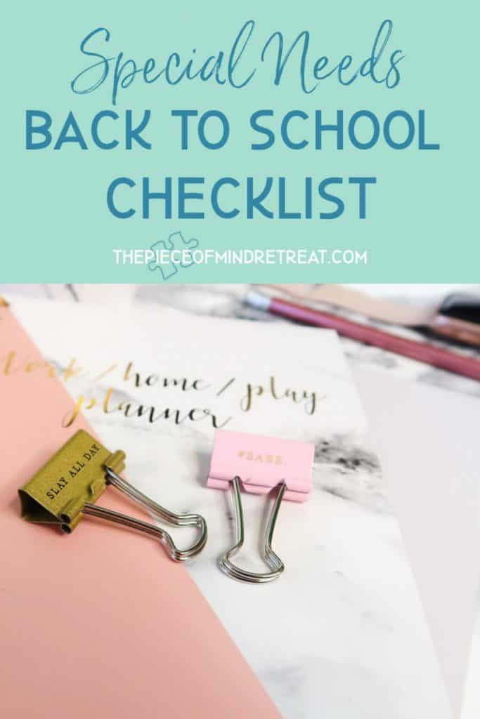 special needs back to school checklist